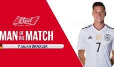دراكسلير أفضل لاعب في مباراة أستراليا وألمانيا