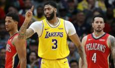 NBA: ديفيز يمنح ليكرز الفوز على بليكانز بتسجيله 41 نقطة