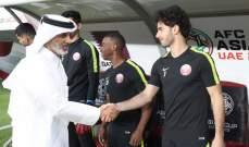 رئيس الاتحاد القطري يحضر التمرين الاخير عشية مواجهة الامارات