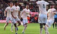 احصاءات مباراة اليونايتد وبورنموث في الدوري الانكليزي الممتاز
