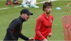 جواو فيليكس يعود الى تدريبات اتلتيكو مدريد