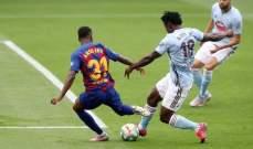 سيلتا فيغو يعرقل برشلونة بتعادل مرير في الدقائق الاخيرة ويمنح الريال افضلية كبيرة