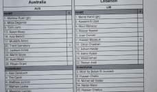 تشكيلة منتخب لبنان التي ستواجه استراليا ودياً