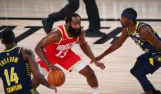 NBA: انديانا يفوز على هيوستن وهاردن يسجل 45 نقطة
