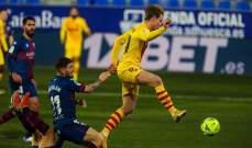 برشلونة ينجو من فخ هويسكا ويتقدم في الترتيب