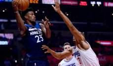 NBA : مينيسوتا يفوز على كليبرز