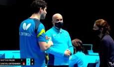 قرار صائب للحكم الدولي عماد مرعب خلال بطولة دولية في قطر بكرة الطاولة