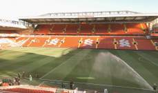 """هكذا يبدو ملعب """"انفيلد"""" قبل مواجهة ليفربول وتشيلسي"""