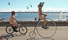 مئات العراة يجولون ملبورن بدراجاتهم الهوائية