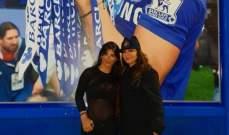 الفنانة اللبنانية إليسا تابعت مباراة تشيلسي وديربي كاونتي