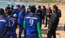 لاعبو الأنصار يتدرّبون على شاطئ الرملة البيضاء
