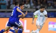 علامات لاعبي مباراة الارجنتين والباراغواي