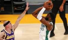 NBA: الليكرز يسقط امام بوسطن ويتراجع الى المركز الخامس غربياً