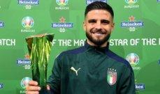 انسيني بعد الفوز بجائزة افضل لاعب في مباراة بلجيكا: ايطاليا فازت