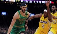 NBA: الليكرز يتلقى صفعة قاسية من بوسطن ويخسر بفارق 32 نقطة