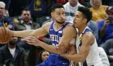 NBA: فيلادلفيا يسقط امام انديانا بغياب ايمبيد