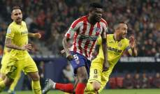 اتلتيكو مدريد يصعد إلى المركز الثالث بعد تخطيه فياريال