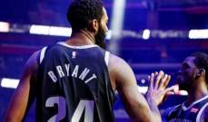 لاعبو البيستونز يرتدون رقمي كوبي قبل مباراة كليفلاند