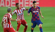 برشلونة يتابع خسارته للنقاط بتعادله امام اتلتيكو وميسي يسجل هدفه رقم 700 بقميص البرسا