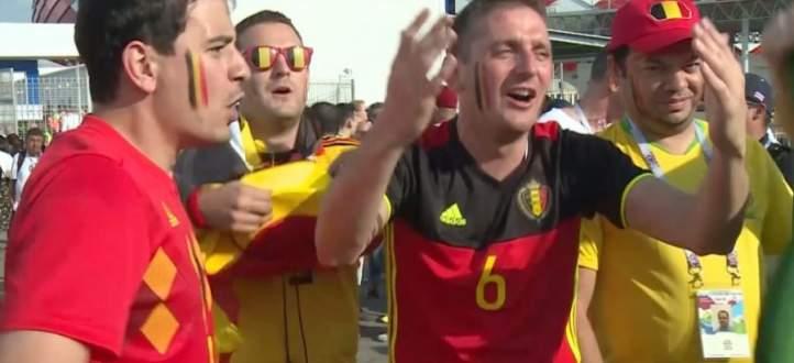 فيديو :  كأس العالم 2018 : مشجعو بلجيكا يودعون ميسي على طريقتهم