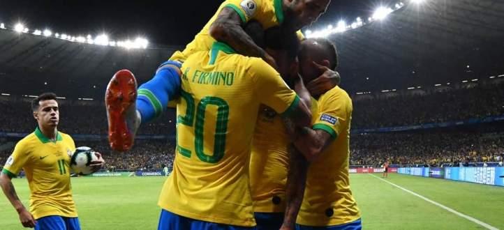 هدفا البرازيل في مرمى الارجنتين ضمن نصف نهائي كوبا اميركا