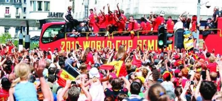 بالفيديو : بلجيكا تحيي ابطالها بعد نيل المركز الثالث