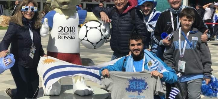 جماهير الاوروغواي تجوب الشوارع في روسيا احتفالاً