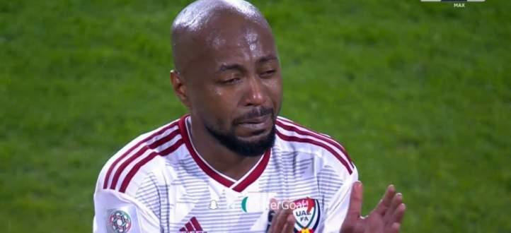 لاعبو الامارات ينهارون بالبكاء عقب الخسارة أمام قطر