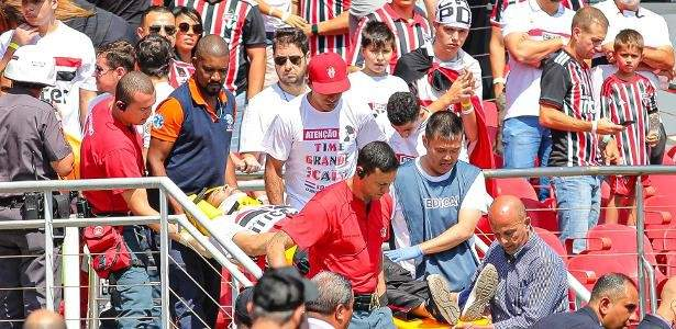 سقوط مشجع في مباراة ساوباولو وغريميو من المدرج الثالث
