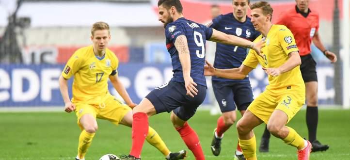 إحصاءات من مباراة فرنسا - اوكرانيا
