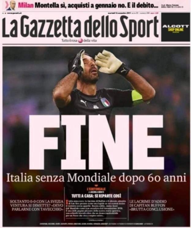 كيف علقت الصحف الايطالية على اخفاق الاتزوري في التأهل لكاس العالم 2018