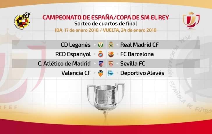 قرعة كأس الملك : ديربي كتالونيا ، مهمة سهلة للريال وصعبة لاتلتيكو