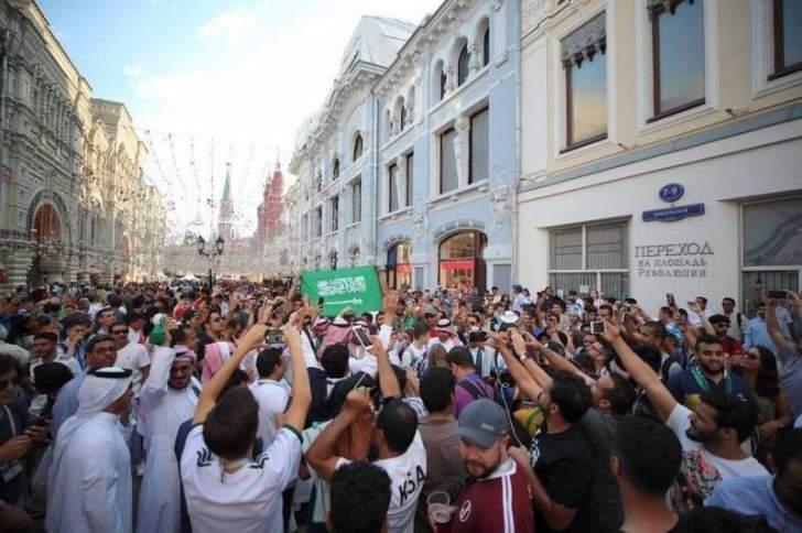 الجماهير السعودية في شوارع موسكو