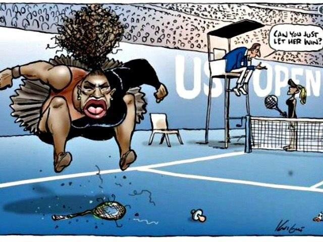 كاريكاتير ساخر من سيرينا وليامز يجتاح مواقع التواصل الاجتماعي