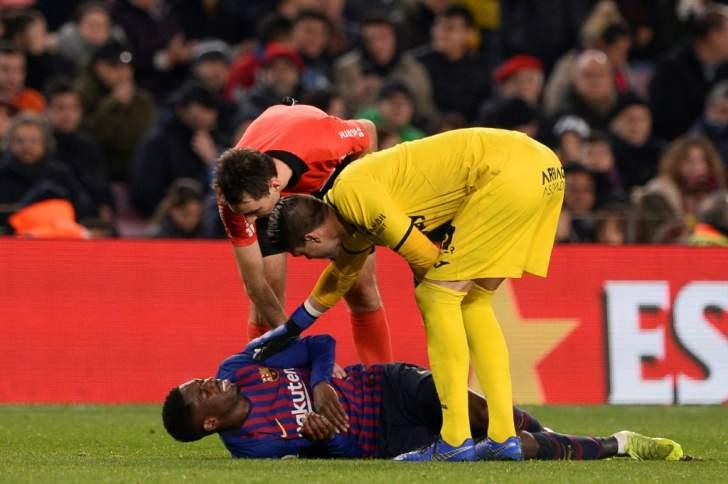 رسميا : ديمبيلي يغيب عن برشلونة لمدة أسبوعين بسبب التواء في الكاحل