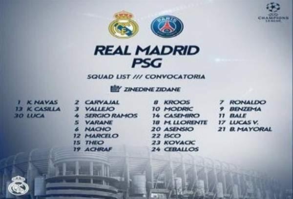 قائمة ريال مدريد المستدعاة لقمة دوري الابطال امام سان جيرمان