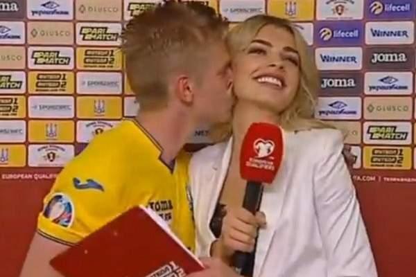 من هي المراسلة التي قبّلها زيتشينكو على الهواء مباشرة؟