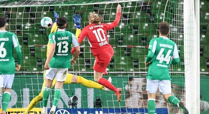 لايبزيغ يهزم بريمن ويتأهل لنهائي كأس ألمانيا