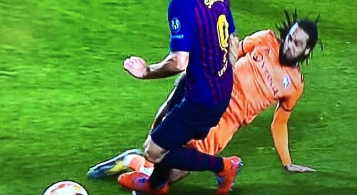 ركلة جزاء غير صحيحة لبرشلونة امام  ليون في دوري الابطال