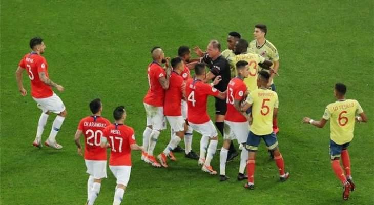 تقنية الفيديو تتدخل مرة جديدة في مباراة تشيلي وكولومبيا والغاء هدفين لتشيلي