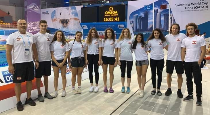نتائج البعثة اللبنانية بكأس العالم في السباحة