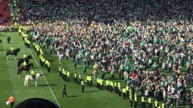 فوضى عارمة تعقب فوز هيبرنيان بكأس اسكتلندا
