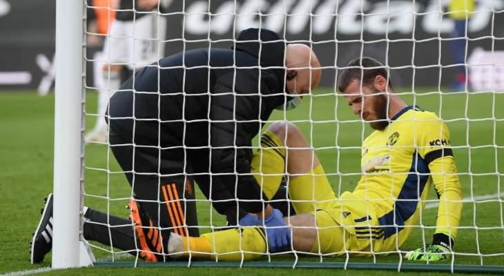 دي خيا خرج مصابا من مباراة مانشستر يونايتد وساوثامبتون