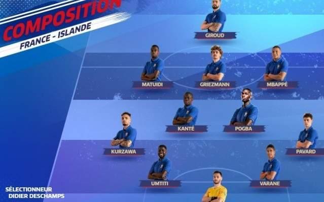 تشكيلة بطل العالم لمواجهة ايسلندا