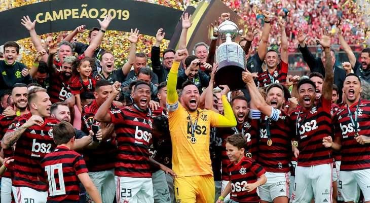 فلامنغو يحتفل بطريقة غريبة بعد الفوز بكاس ليبرتادوريس