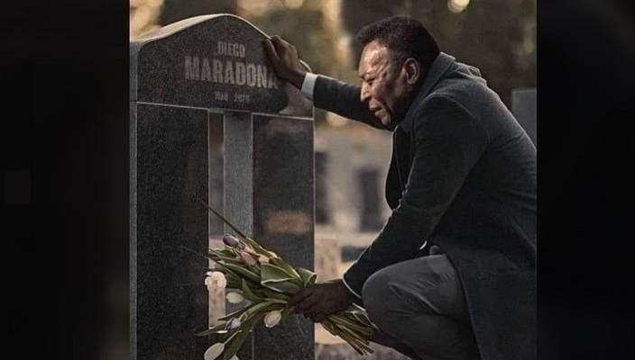 الكشف عن حقيقة صورة بيليه أمام قبر مارادونا