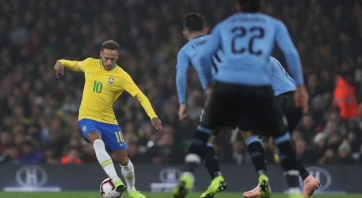 البرازيل تفوز على الاوروغواي في لقاء ذو طابع ودي ومضمون عنيف