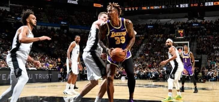 NBA: قطار الليكرز يطيح بسان انطونيو ويسجل الفوز الخامس على التوالي