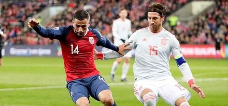 علامات لاعبي منتخبي اسبانيا والنروج